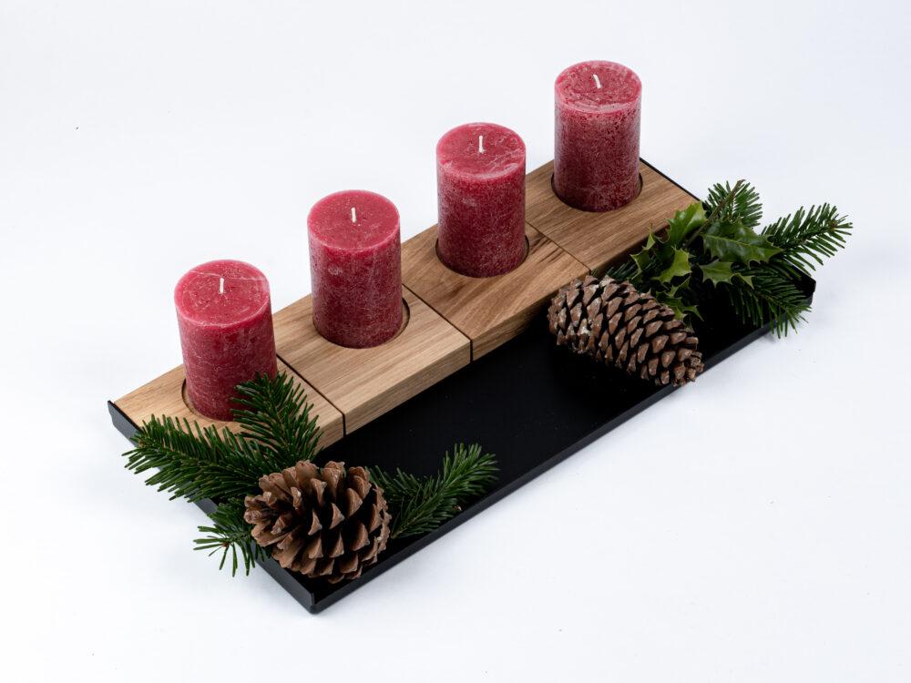 Kerzenhalter 180 Grad - Eiche massiv Stabkerze Stumpenkerze Teelicht - OPA ERWIN - Adventskranz mit Stumpenkerzen und Dekoschale - 4