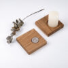Kerzenhalter 180 Grad - Eiche massiv Stabkerze Stumpenkerze Teelicht - OPA ERWIN - mit Stumpenkerze und Teelicht - 2